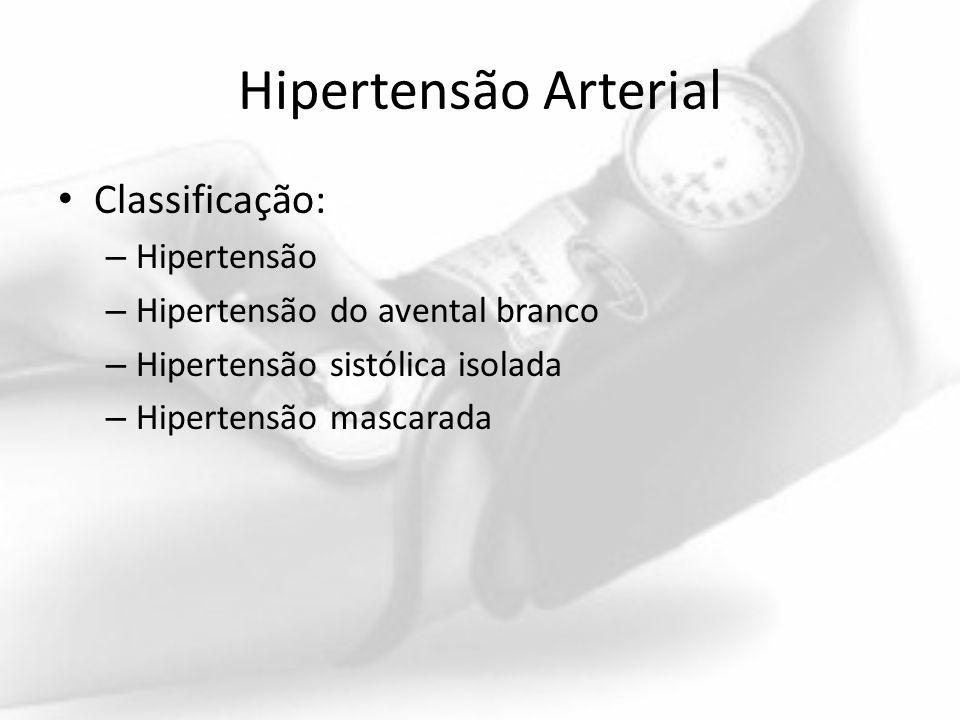 Hipertensão Arterial Classificação: – Hipertensão – Hipertensão do avental branco – Hipertensão sistólica isolada – Hipertensão mascarada