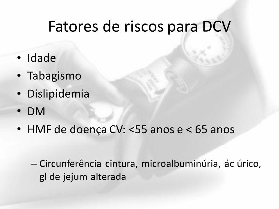 Fatores de riscos para DCV Idade Tabagismo Dislipidemia DM HMF de doença CV: <55 anos e < 65 anos – Circunferência cintura, microalbuminúria, ác úrico