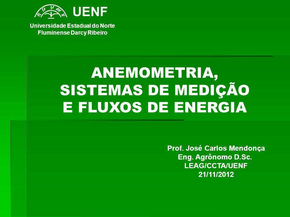 ANEMOMETRIA, SISTEMAS DE MEDIÇÃO E FLUXOS DE ENERGIA Prof. José Carlos Mendonça Eng. Agrônomo D.Sc. LEAG/CCTA/UENF 21/11/2012 UENF Universidade Estadu