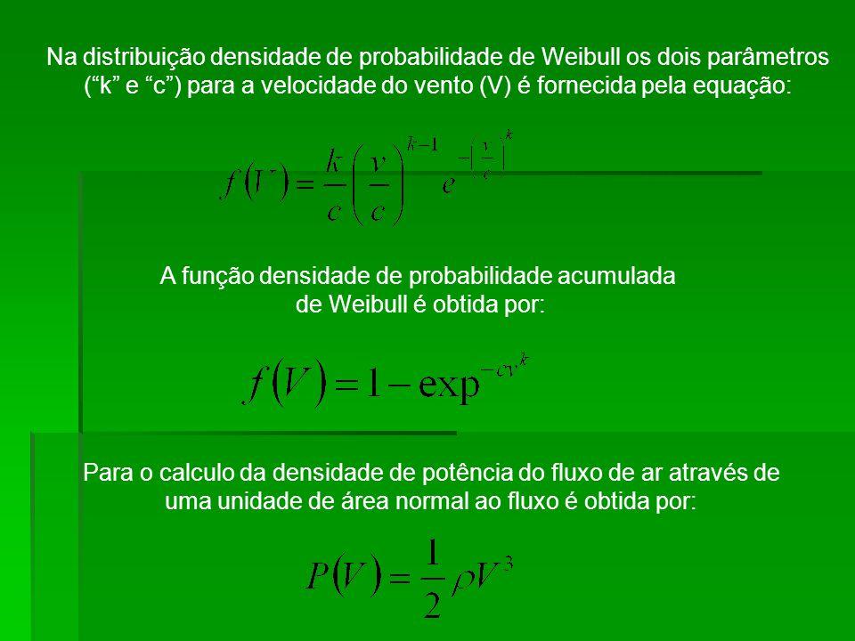 Na distribuição densidade de probabilidade de Weibull os dois parâmetros (k e c) para a velocidade do vento (V) é fornecida pela equação: A função den