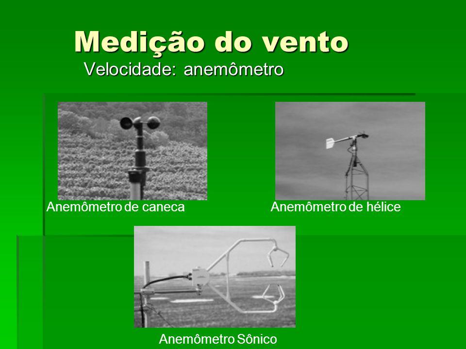 Medição do vento Velocidade: anemômetro Anemômetro de canecaAnemômetro de hélice Anemômetro Sônico