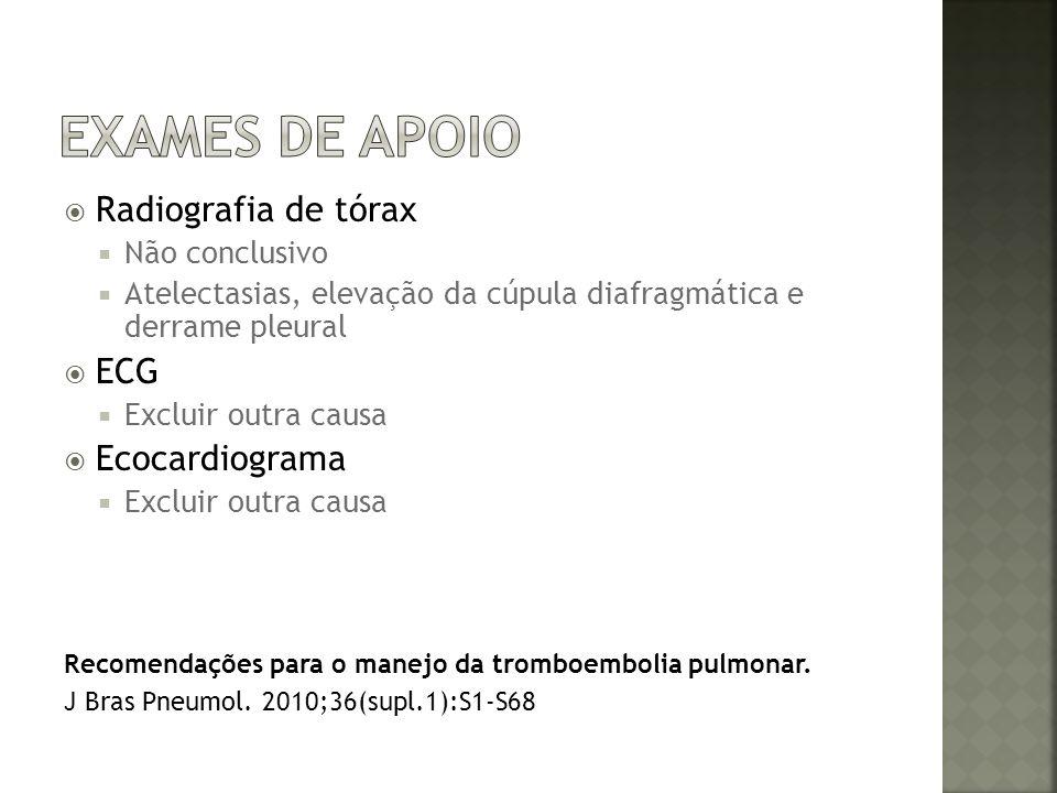 Radiografia de tórax Não conclusivo Atelectasias, elevação da cúpula diafragmática e derrame pleural ECG Excluir outra causa Ecocardiograma Excluir ou