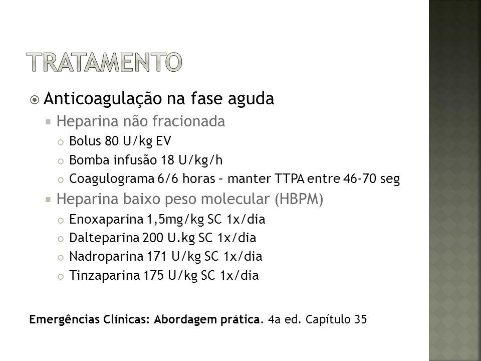 Anticoagulação na fase aguda Heparina não fracionada Bolus 80 U/kg EV Bomba infusão 18 U/kg/h Coagulograma 6/6 horas – manter TTPA entre 46-70 seg Hep