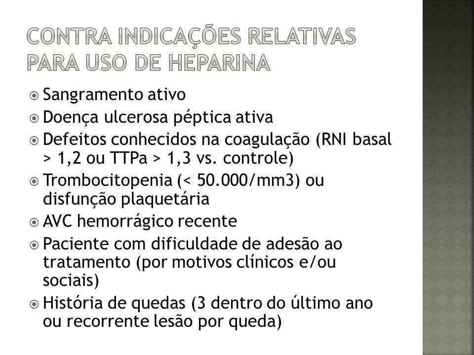 Sangramento ativo Doença ulcerosa péptica ativa Defeitos conhecidos na coagulação (RNI basal > 1,2 ou TTPa > 1,3 vs. controle) Trombocitopenia (< 50.0