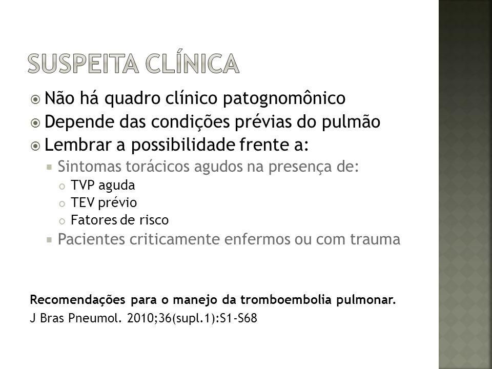 Lembrar a possibilidade frente a: Taquiarritmias súbitas e inexplicáveis Arritmia crônica + dor pleurítica ou hemoptise Descompensação inexplicável de insuf.