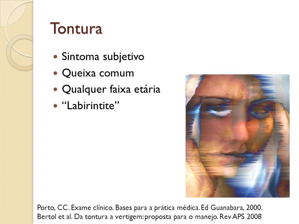 Tontura Sintoma subjetivo Queixa comum Qualquer faixa etária Labirintite Porto, CC. Exame clínico. Bases para a prática médica. Ed Guanabara, 2000. Be