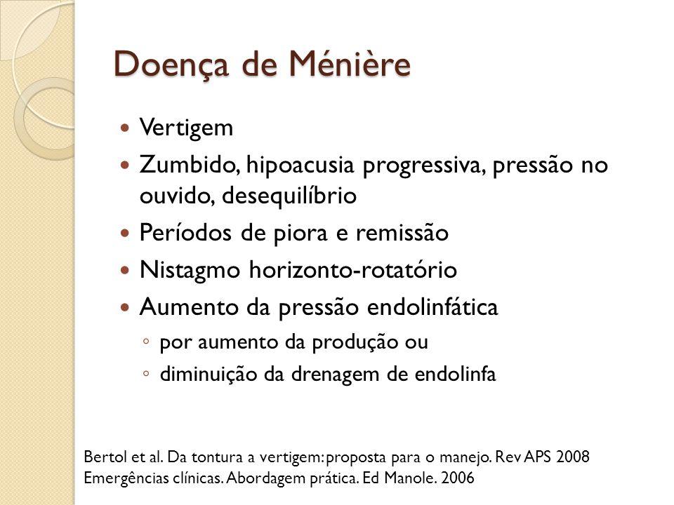 Doença de Ménière Vertigem Zumbido, hipoacusia progressiva, pressão no ouvido, desequilíbrio Períodos de piora e remissão Nistagmo horizonto-rotatório