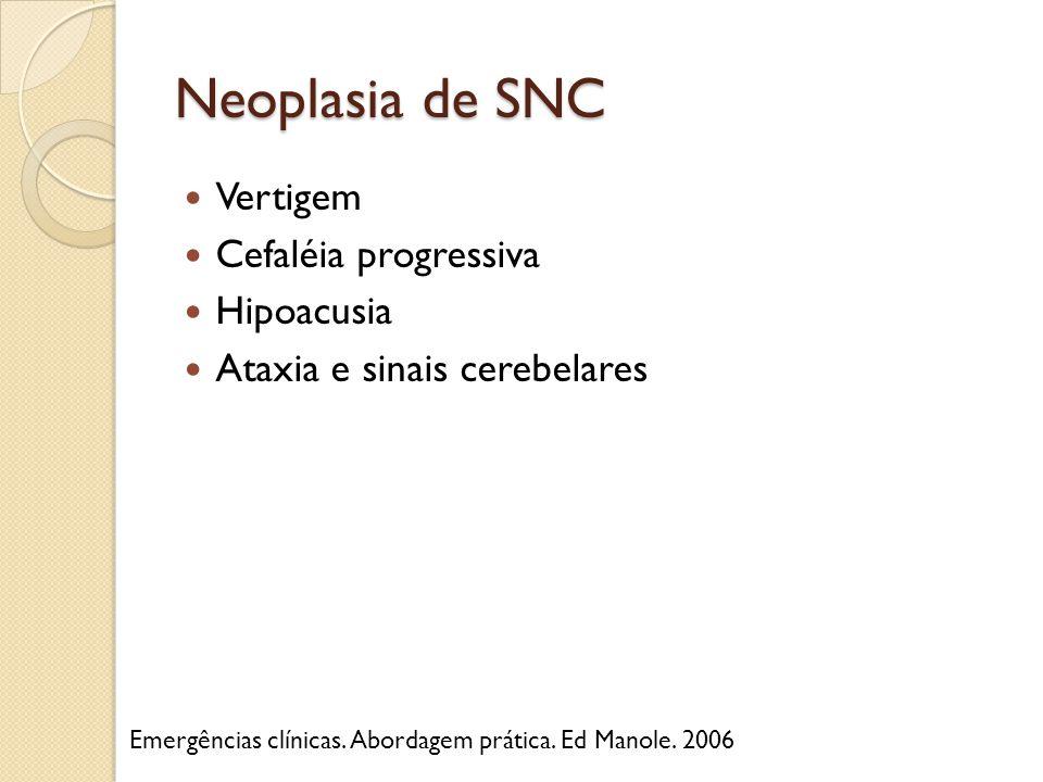 Neoplasia de SNC Vertigem Cefaléia progressiva Hipoacusia Ataxia e sinais cerebelares Emergências clínicas. Abordagem prática. Ed Manole. 2006