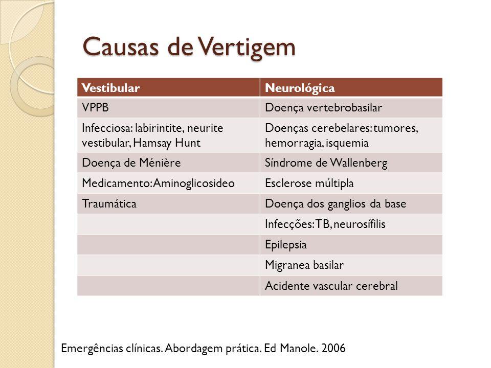 Causas de Vertigem VestibularNeurológica VPPBDoença vertebrobasilar Infecciosa: labirintite, neurite vestibular, Hamsay Hunt Doenças cerebelares: tumo