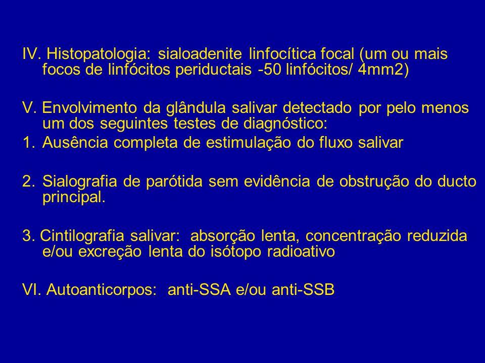 IV. Histopatologia: sialoadenite linfocítica focal (um ou mais focos de linfócitos periductais -50 linfócitos/ 4mm2) V. Envolvimento da glândula saliv