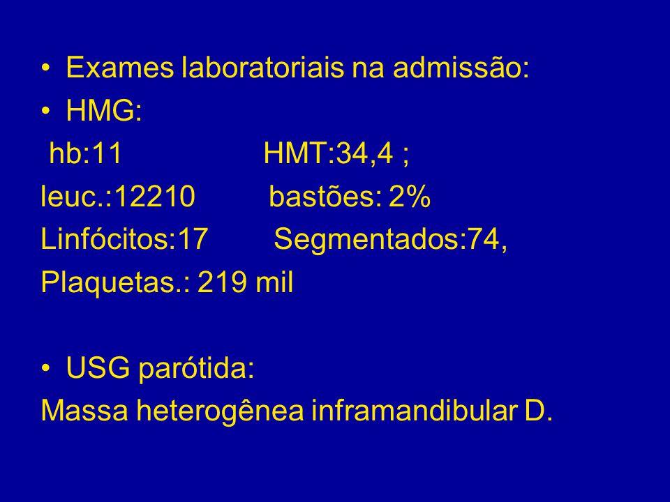 Exames laboratoriais na admissão: HMG: hb:11 HMT:34,4 ; leuc.:12210 bastões: 2% Linfócitos:17 Segmentados:74, Plaquetas.: 219 mil USG parótida: Massa