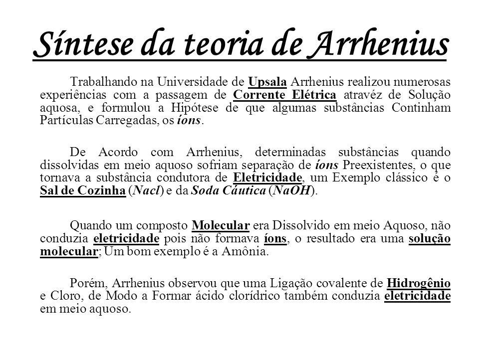 Síntese da teoria de Arrhenius Trabalhando na Universidade de Upsala Arrhenius realizou numerosas experiências com a passagem de Corrente Elétrica atr