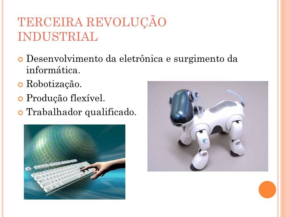 TERCEIRA REVOLUÇÃO INDUSTRIAL Desenvolvimento da eletrônica e surgimento da informática. Robotização. Produção flexível. Trabalhador qualificado.