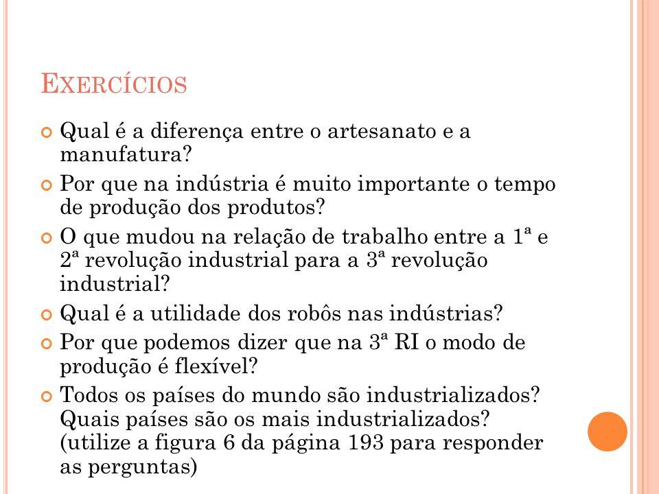 E XERCÍCIOS Qual é a diferença entre o artesanato e a manufatura? Por que na indústria é muito importante o tempo de produção dos produtos? O que mudo
