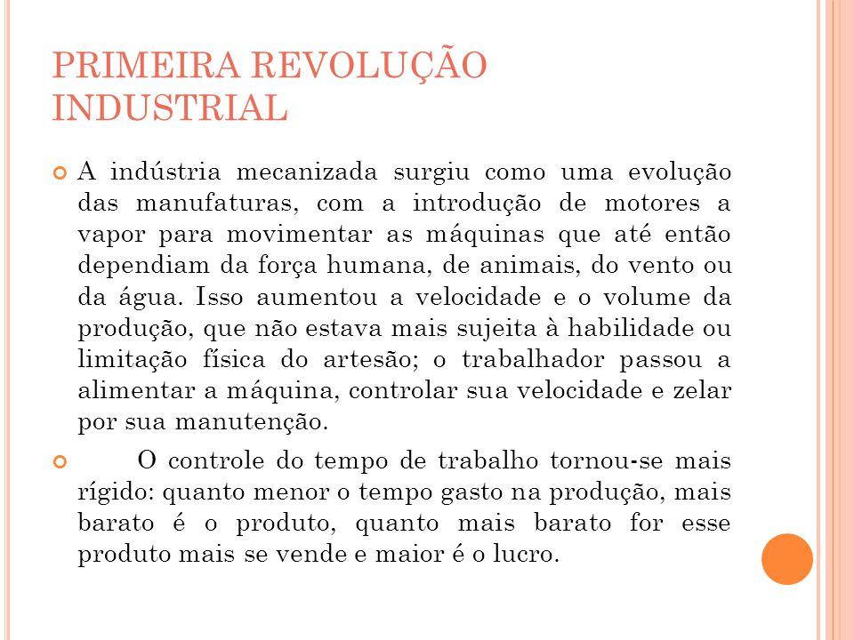 PRIMEIRA REVOLUÇÃO INDUSTRIAL A indústria mecanizada surgiu como uma evolução das manufaturas, com a introdução de motores a vapor para movimentar as