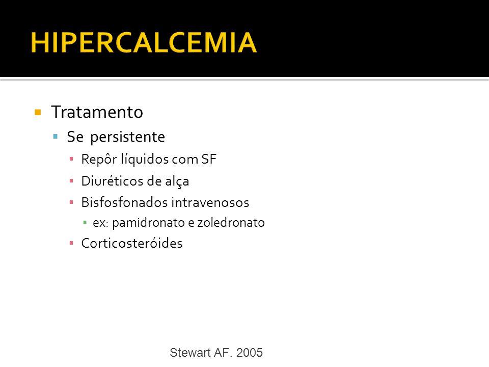 Tratamento Se persistente Repôr líquidos com SF Diuréticos de alça Bisfosfonados intravenosos ex: pamidronato e zoledronato Corticosteróides Stewart A