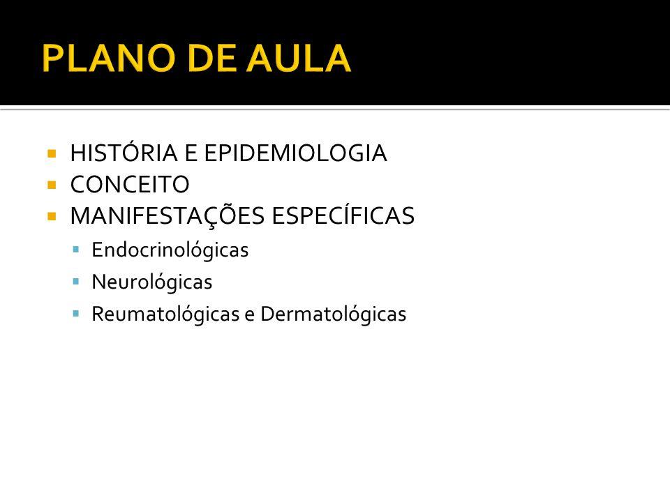 HISTÓRIA E EPIDEMIOLOGIA CONCEITO MANIFESTAÇÕES ESPECÍFICAS Endocrinológicas Neurológicas Reumatológicas e Dermatológicas