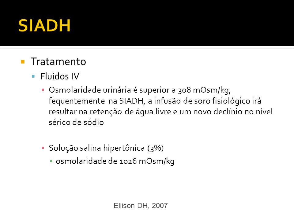 Tratamento Fluidos IV Osmolaridade urinária é superior a 308 mOsm/kg, fequentemente na SIADH, a infusão de soro fisiológico irá resultar na retenção d