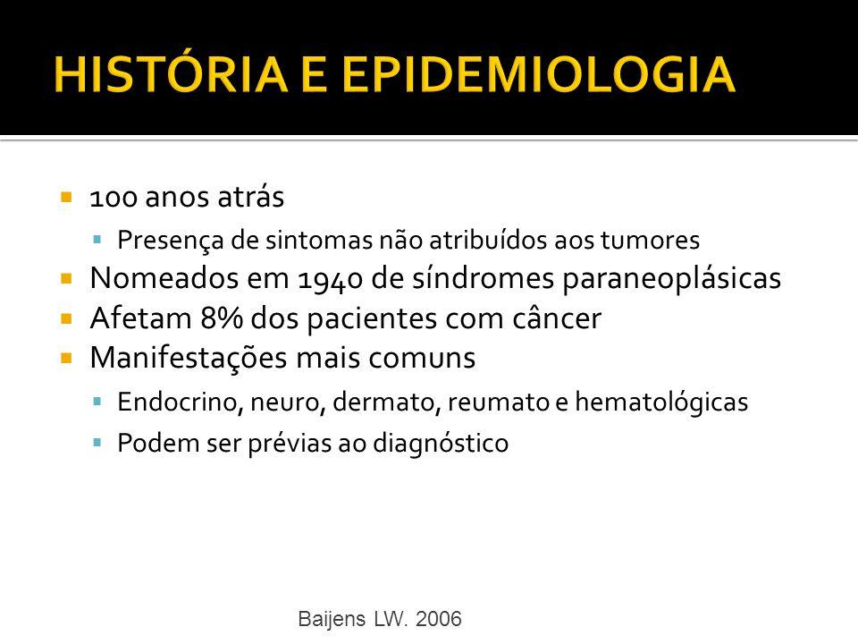 100 anos atrás Presença de sintomas não atribuídos aos tumores Nomeados em 1940 de síndromes paraneoplásicas Afetam 8% dos pacientes com câncer Manife