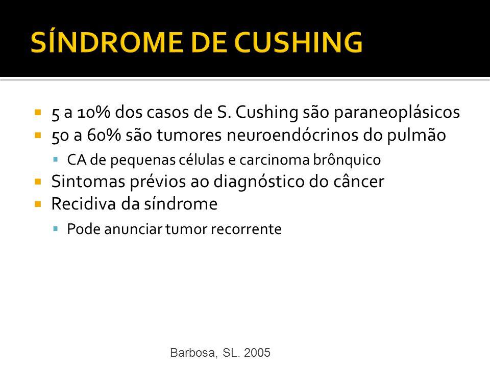 5 a 10% dos casos de S. Cushing são paraneoplásicos 50 a 60% são tumores neuroendócrinos do pulmão CA de pequenas células e carcinoma brônquico Sintom