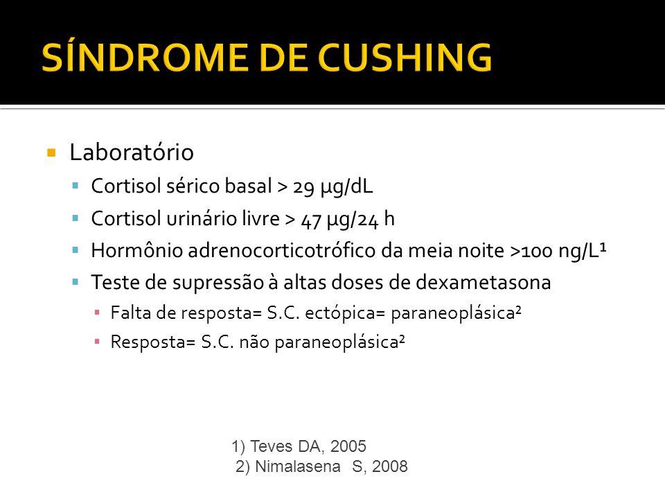 Laboratório Cortisol sérico basal > 29 µg/dL Cortisol urinário livre > 47 µg/24 h Hormônio adrenocorticotrófico da meia noite >100 ng/L¹ Teste de supr