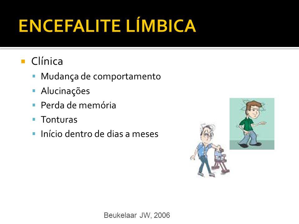 Clínica Mudança de comportamento Alucinações Perda de memória Tonturas Início dentro de dias a meses Beukelaar JW, 2006