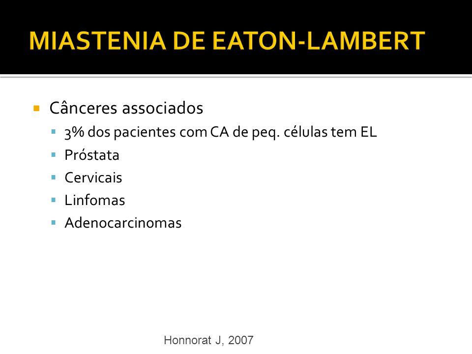 Cânceres associados 3% dos pacientes com CA de peq. células tem EL Próstata Cervicais Linfomas Adenocarcinomas Honnorat J, 2007