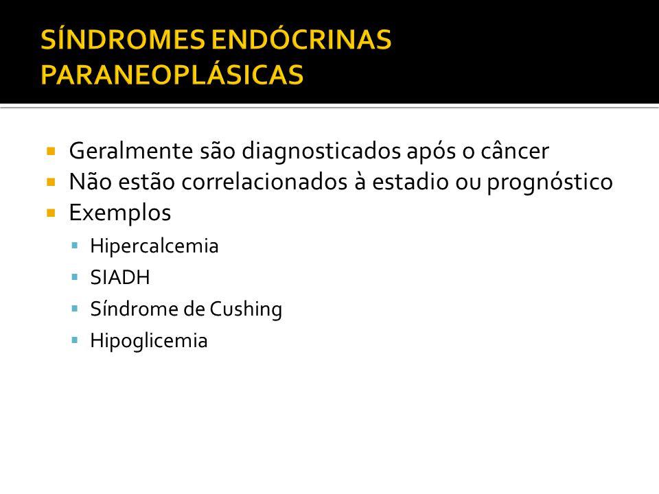 Geralmente são diagnosticados após o câncer Não estão correlacionados à estadio ou prognóstico Exemplos Hipercalcemia SIADH Síndrome de Cushing Hipogl