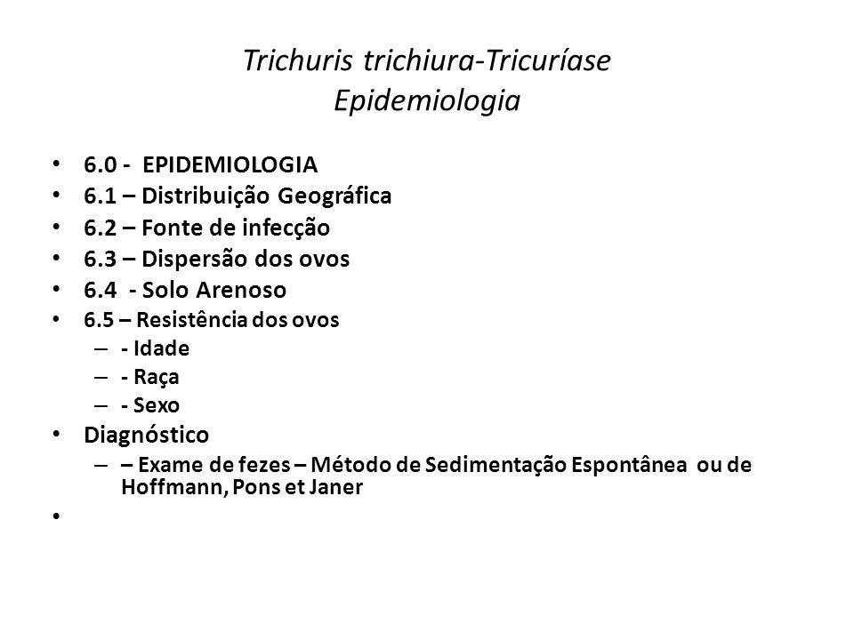 Trichuris trichiura-Tricuríase Epidemiologia 6.0 - EPIDEMIOLOGIA 6.1 – Distribuição Geográfica 6.2 – Fonte de infecção 6.3 – Dispersão dos ovos 6.4 -