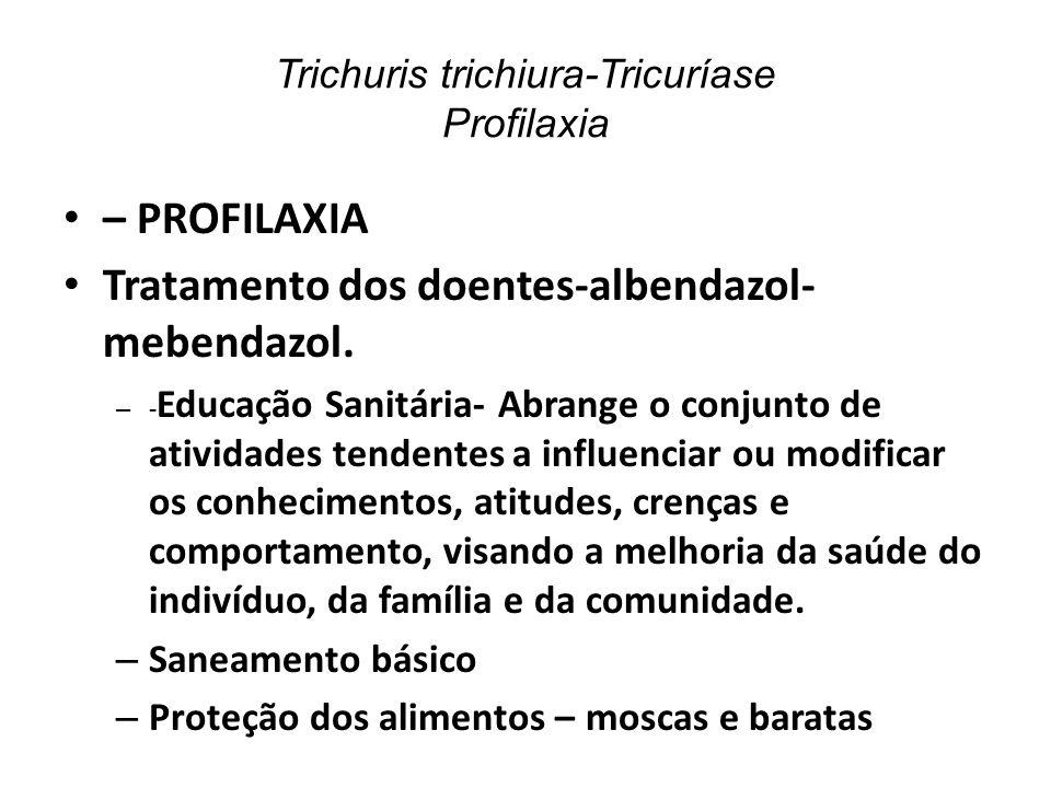 Trichuris trichiura-Tricuríase Profilaxia – PROFILAXIA Tratamento dos doentes-albendazol- mebendazol. – - Educação Sanitária- Abrange o conjunto de at
