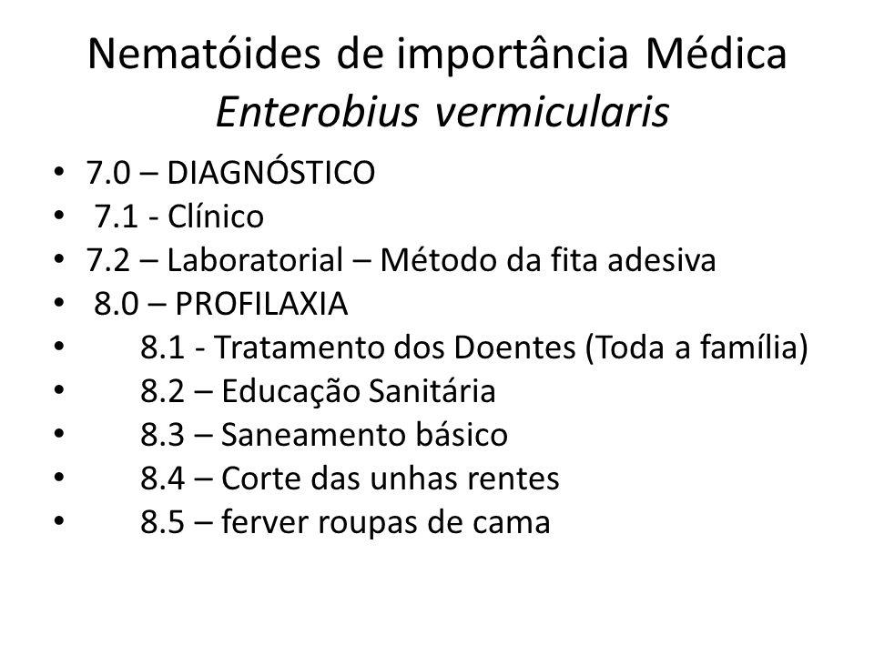 Nematóides de importância Médica Enterobius vermicularis 7.0 – DIAGNÓSTICO 7.1 - Clínico 7.2 – Laboratorial – Método da fita adesiva 8.0 – PROFILAXIA