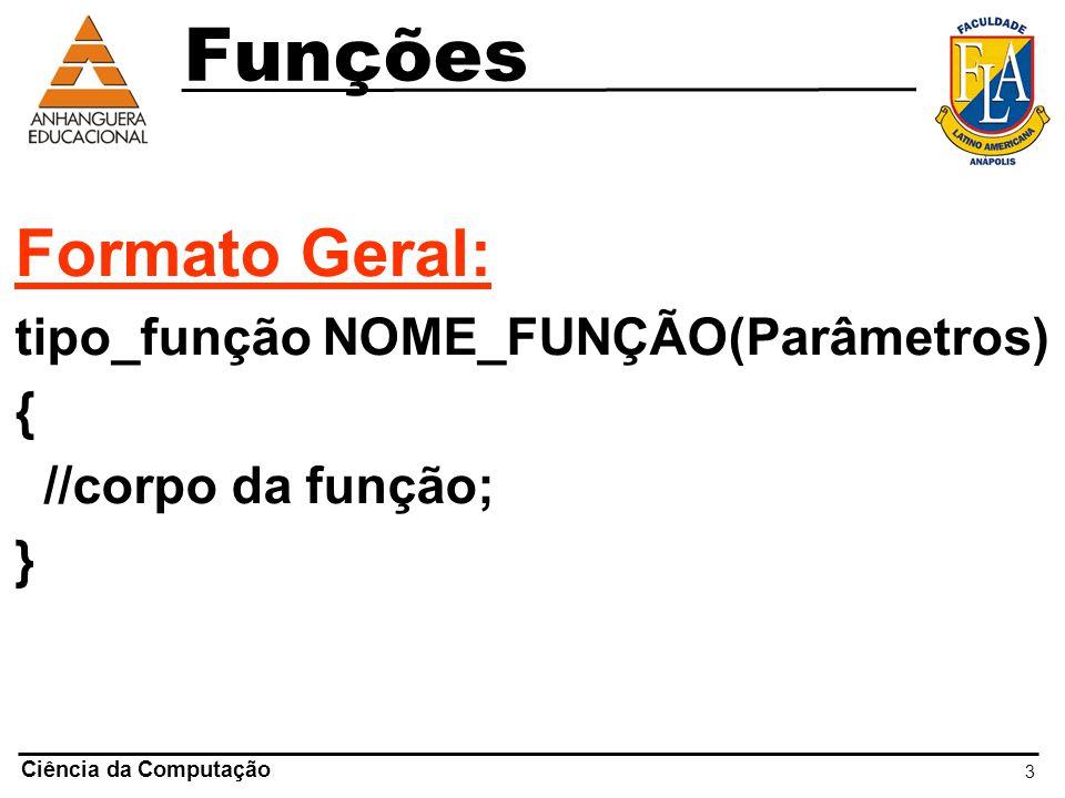3 Ciência da Computação Funções Formato Geral: tipo_função NOME_FUNÇÃO(Parâmetros) { //corpo da função; }