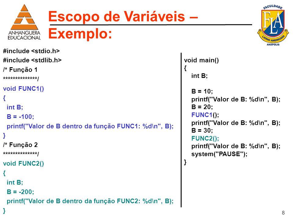 8 #include /* Função 1 **************/ void FUNC1() { int B; B = -100; printf(