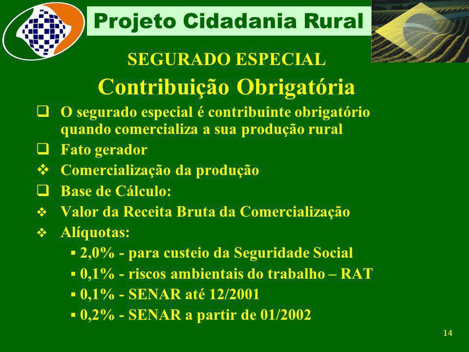 13 Projeto Cidadania Rural Segurado Especial Quem não é considerado O produtor que em determinado período utilizar mão-de-obra assalariada, sendo cons