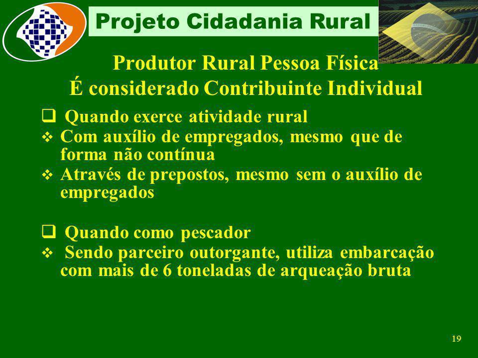 18 Projeto Cidadania Rural Produtor Rural Pessoa Física Conceito Proprietário ou não Desenvolve atividade agropecuária, pesqueira e/ou extração de pro