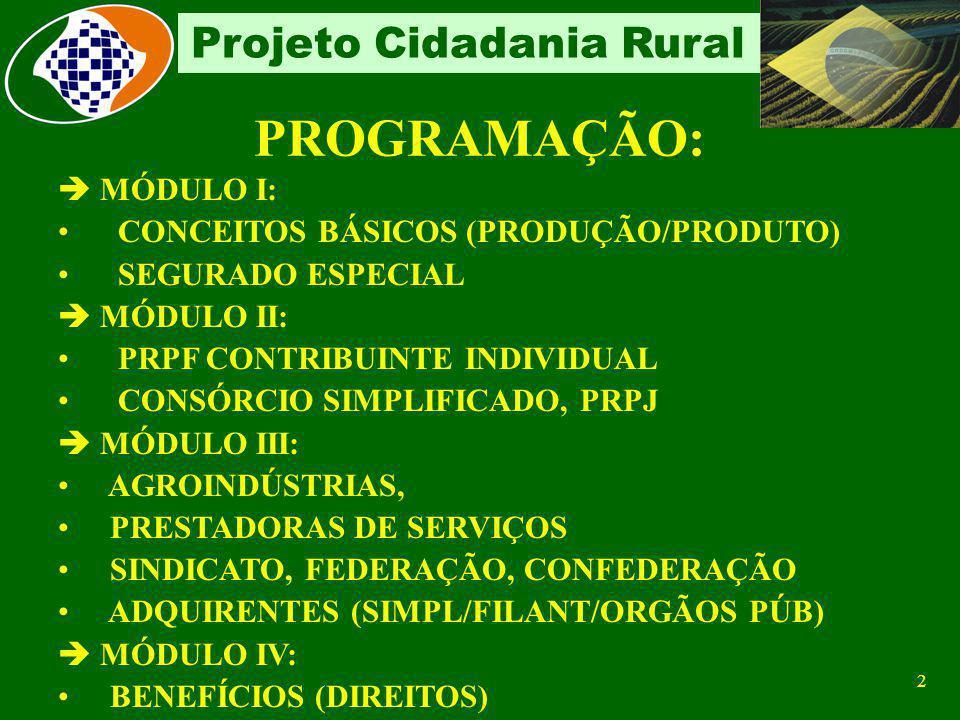 1 Projeto Cidadania Rural PROJETO CIDADANIA RURAL MULTIPLICADOR - CUSTEIO LUCAS DE GOIS CAMPOS Auditor-Fiscal da Receita Federal do Brasil PRESIDENTE