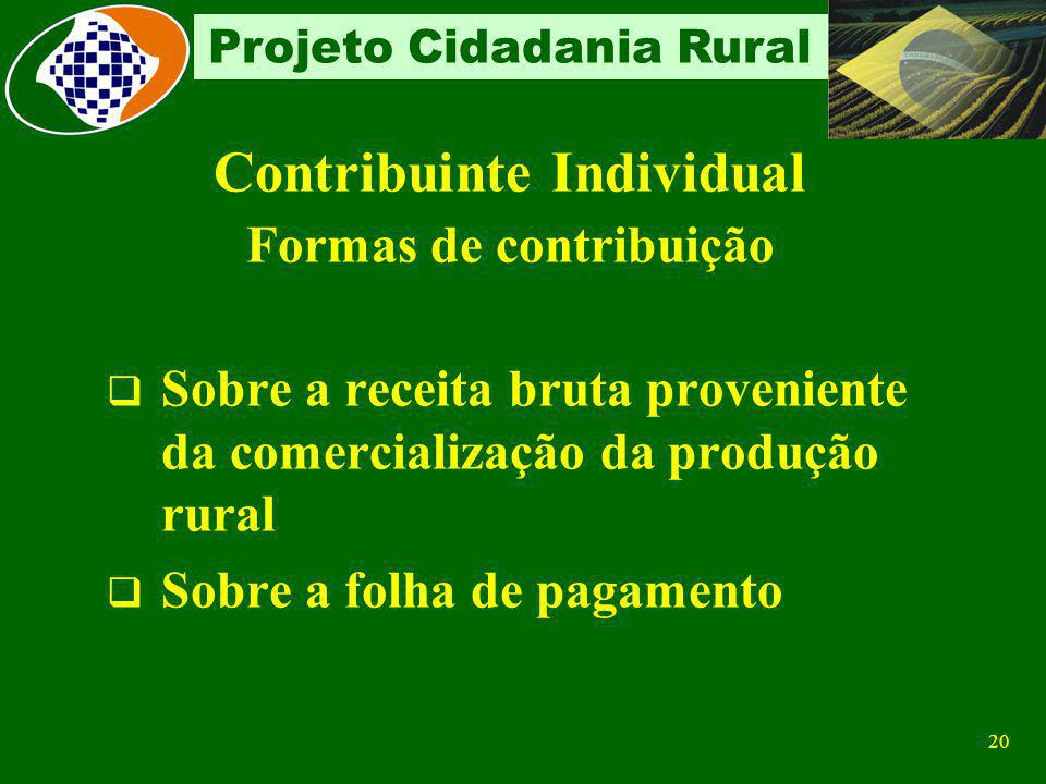 19 Projeto Cidadania Rural Produtor Rural Pessoa Física É considerado Contribuinte Individual Quando exerce atividade rural Com auxílio de empregados,
