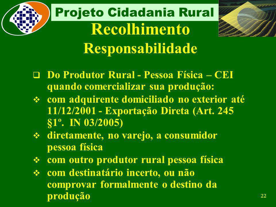 21 Projeto Cidadania Rural Contribuição Obrigatória Sobre a comercialização da produção Fato gerador Comercialização da produção rural Base de Cálculo