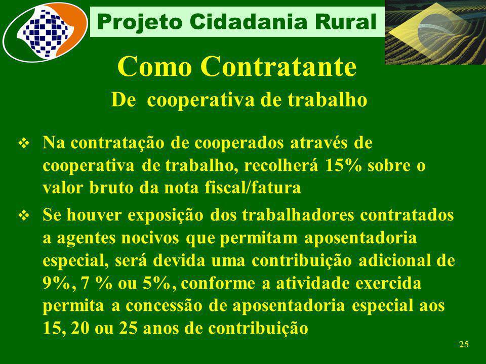 24 Projeto Cidadania Rural Como Contratante Contribuinte individual Recolher a contribuição de 20% incidente sobre a remuneração paga ou creditada ao