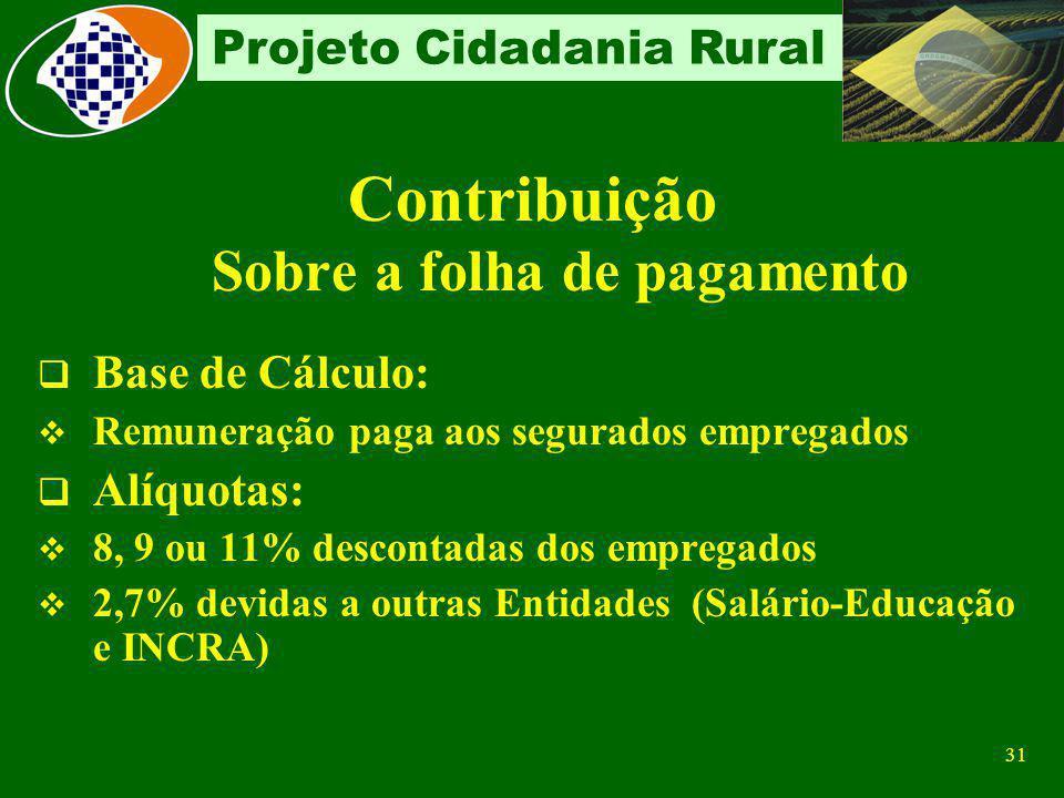 30 Projeto Cidadania Rural Consórcio Simplificado de Produtores rurais Características: tem como embasamento legal a Lei nº 10.256/2001 ; é a união de