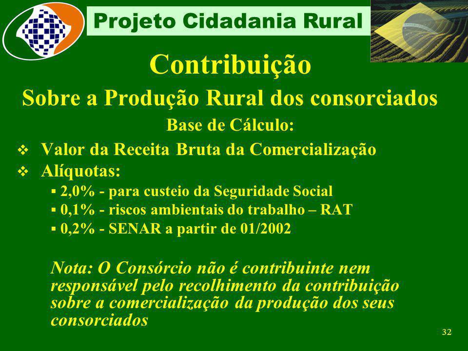 31 Projeto Cidadania Rural Contribuição Sobre a folha de pagamento Base de Cálculo: Remuneração paga aos segurados empregados Alíquotas: 8, 9 ou 11% d