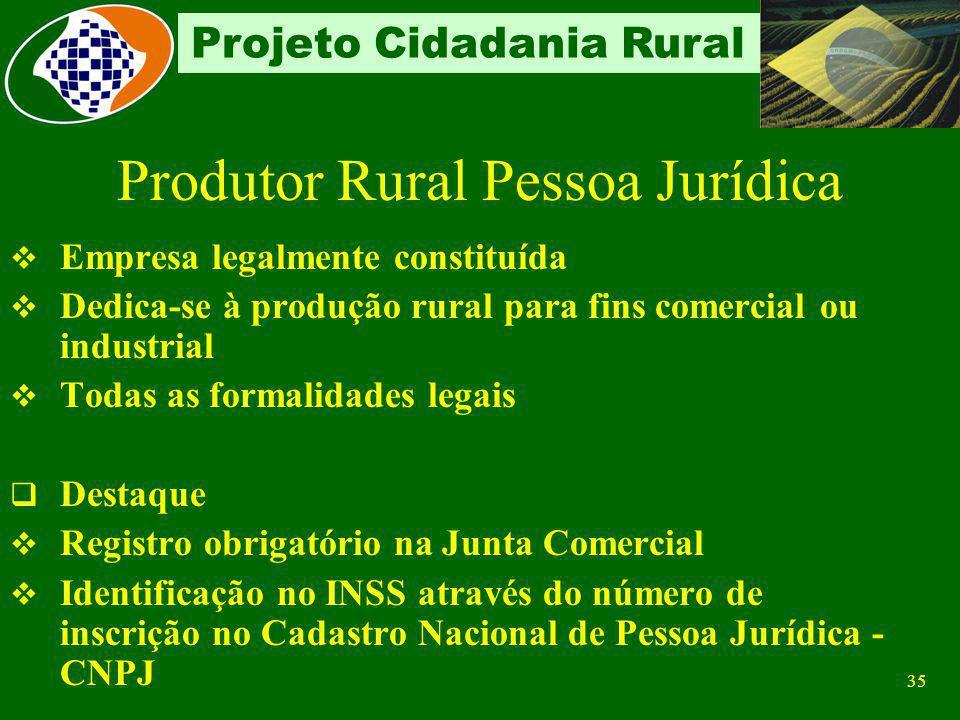 34 Projeto Cidadania Rural Contribuição sobre folha de pagamento – descontado do empregado e devida aos Terceiros Contribuição própria obrigatória Con