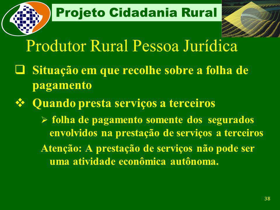 37 Projeto Cidadania Rural Situação em que ocorre a substituição tem por fim apenas a produção rural para fins comerciais. Situação em que recolhe sob