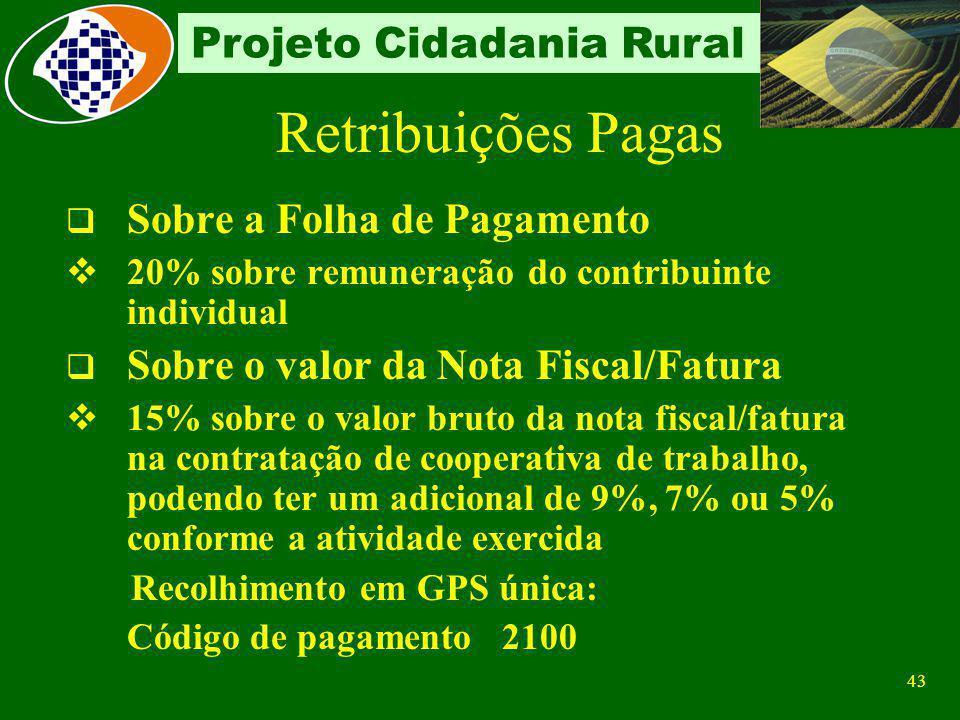 42 Projeto Cidadania Rural Sobre a folha de pagamento Com s ubstituição da parte patronal Segurados descontado dos segurados empregados e trabalhadore