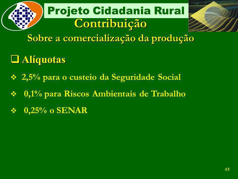 44 Projeto Cidadania Rural Contribuição Sobre a comercialização da produção Fato gerador Fato gerador Comercialização da produção rural Comercializaçã