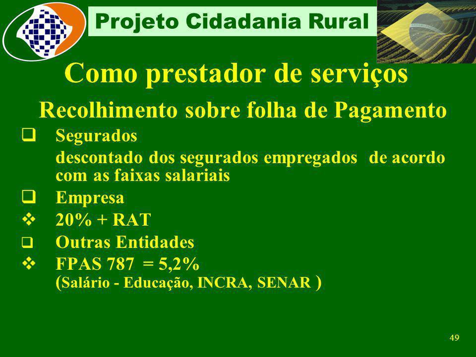 48 Projeto Cidadania Rural Contribuição Do próprio Empregador Contribuinte obrigatório: A partir de 04/2003, a empresa desconta e recolhe 11% sobre a