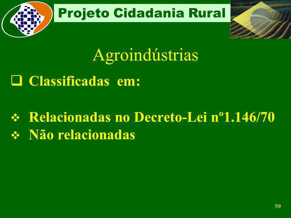 58 Projeto Cidadania Rural Características Recolhe sobre a receita bruta da comercialização da produção industrializada ou não, mesmo quando exerce ou