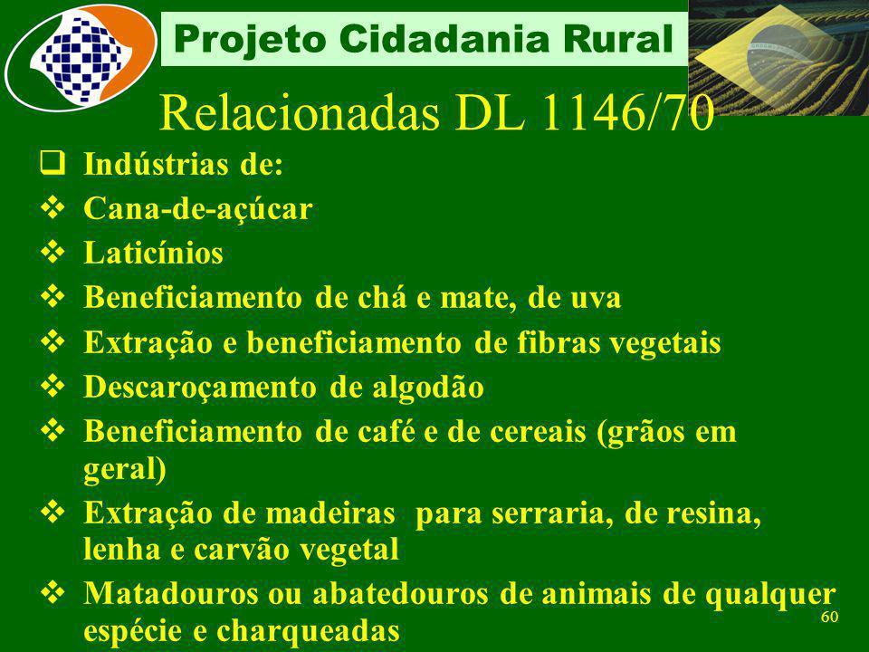 59 Projeto Cidadania Rural Classificadas em: Relacionadas no Decreto-Lei nº1.146/70 Não relacionadas Agroindústrias