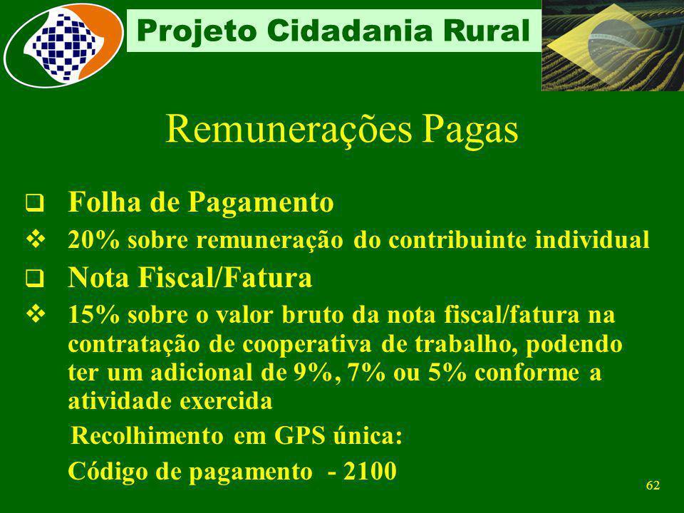 61 Projeto Cidadania Rural Folha de Pagamento (relacionadas no DL) Segurados descontado dos segurados empregados e trabalhadores avulsos, de acordo co