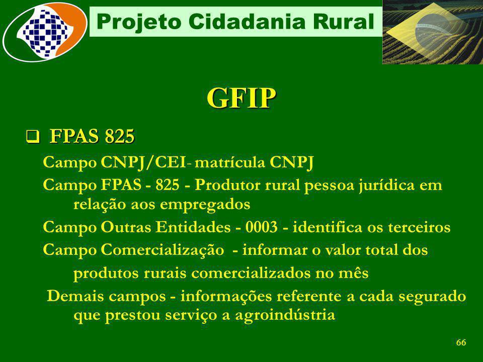 65 Projeto Cidadania Rural Contribuição Do próprio Empregador Contribuinte obrigatório: A partir de 04/2003, a empresa desconta e recolhe 11% sobre a